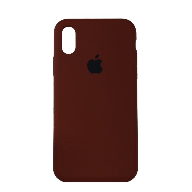 Чехол Silicone Case Full Cover iPhone X/XS Copy Brown (57)