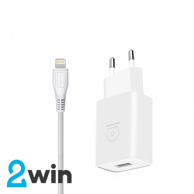 СЗУ WUW T28 2.1A 2USB with Lightning Cable White